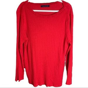 Tommy Hilfiger Holiday Red Knit Sweater Top XXL